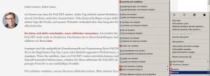 Noscript zeigt die Server, die auf meinem Browseer im Hintergrund Code ausführen wollen