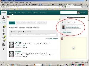 """Screenshot: Xing-Profil mit Hinweis auf """"Besucher Ihres Profils"""""""